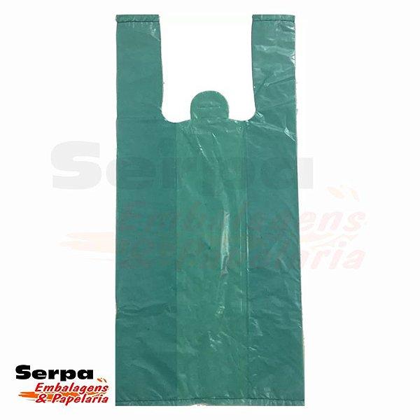 Sacola de Plástico com Alça Camiseta Verde - Fardo com 1 Quilo
