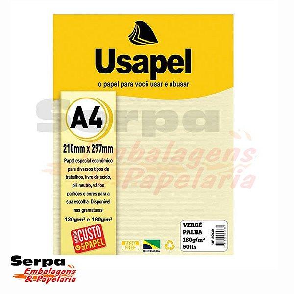Papel A4 USAPEL - Vergê Palha 180G - Pacote com 50 Folhas