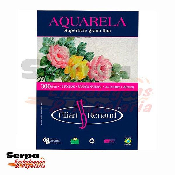 Papel A4 Filipaper Aquarela - Filiart Renaud - 300G - Pacote com 12 Folhas