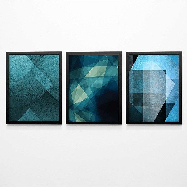 Tríptico abstrato azul FF007