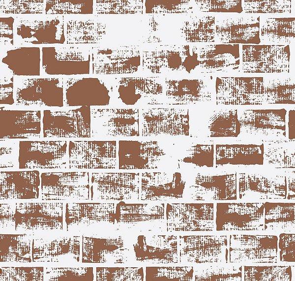 Papel de parede tijolo marrom fp441