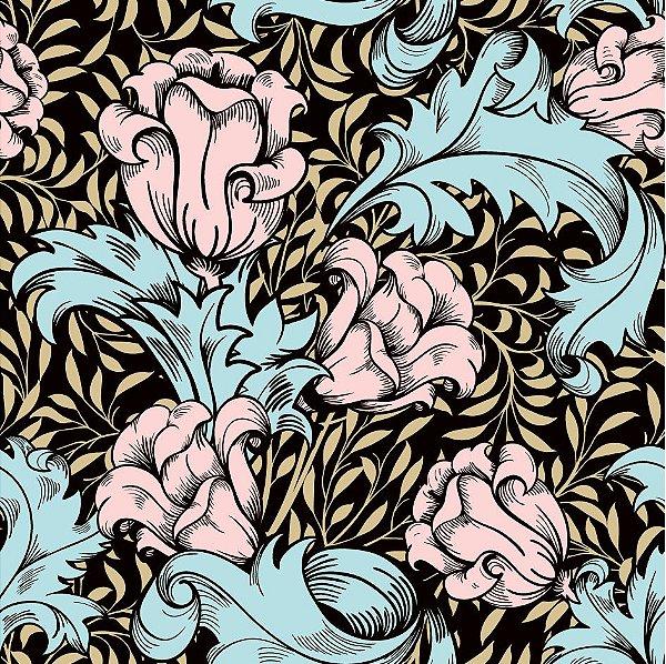Papel de parede flores vintage fp610