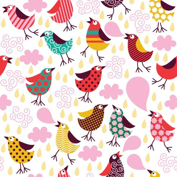 Papel de parede pássaros coloridos fp138