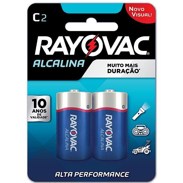 Pilha Alcalina Rayovac C (média) - 1 Cartela com 2 Pilhas