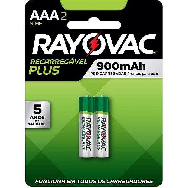 Pilha Recarregável Rayovac Super Plus AAA 900Mah  - 2 Pilhas