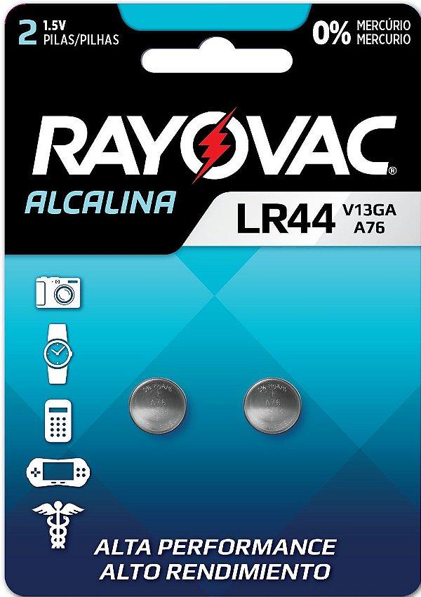 Pilha Eletrônica Rayovac Botão V13GA/LR44  - 2 Pilhas