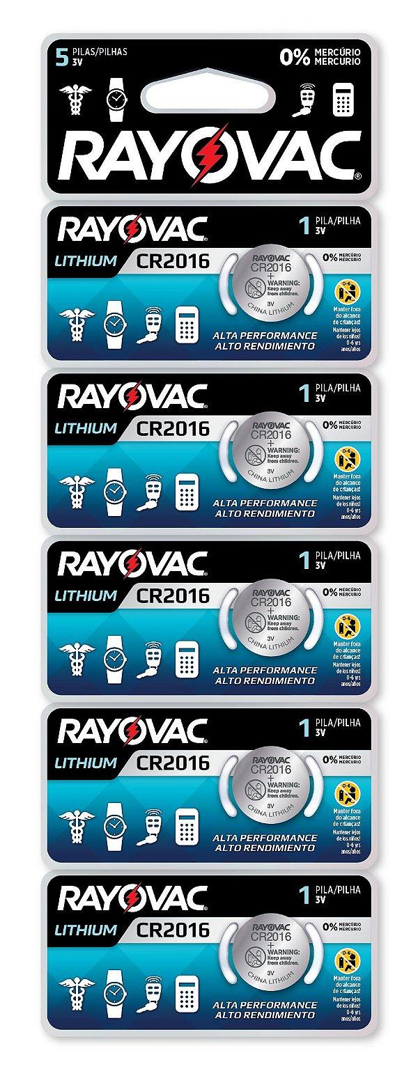 Pilha Eletrônica Rayovac Botão CR2016 - 5 Unidades