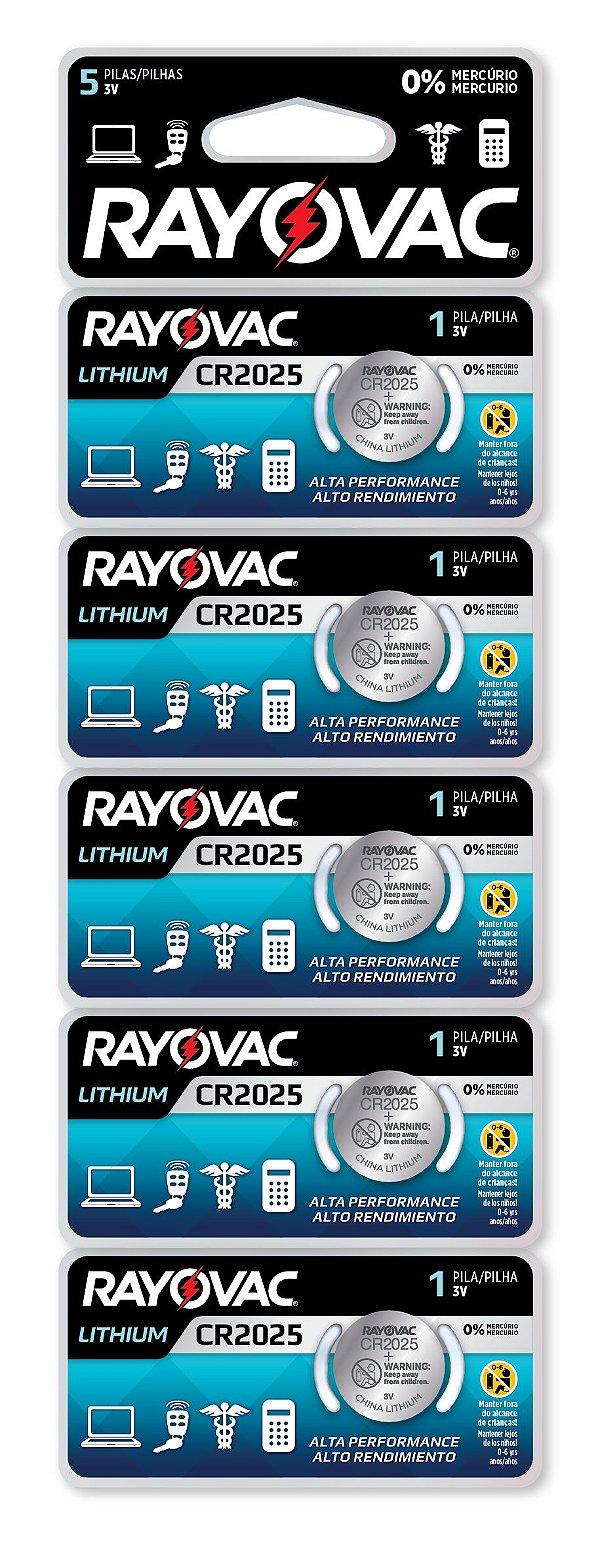 Pilha Eletrônica Rayovac Botão CR2025 - 5 Pilhas