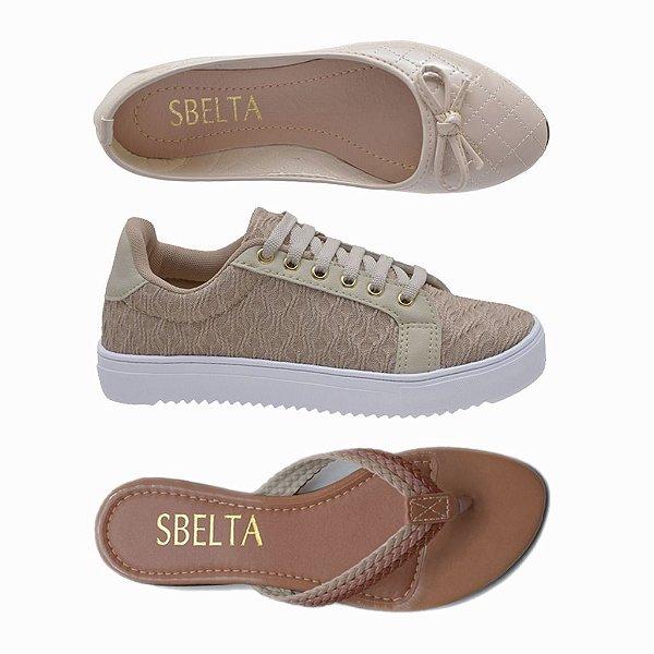 7c6399da54 Kit 3 Pares Tênis + Sapatilha + Rasteira Sbelta Bege - Shopping Calçados