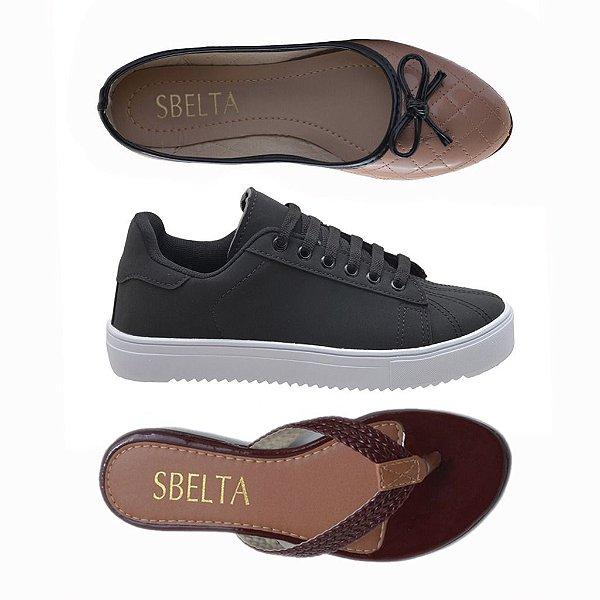 1427351ee7 Kit 3 Pares Tênis + Sapatilha + Rasteira Sbelta Preto - Shopping ...