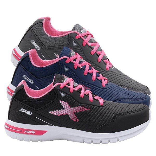 Kit 3 Pares Tênis Esportivo Feminino FXB Marinho/Pink + Preto/Pink + Cinza/Pink