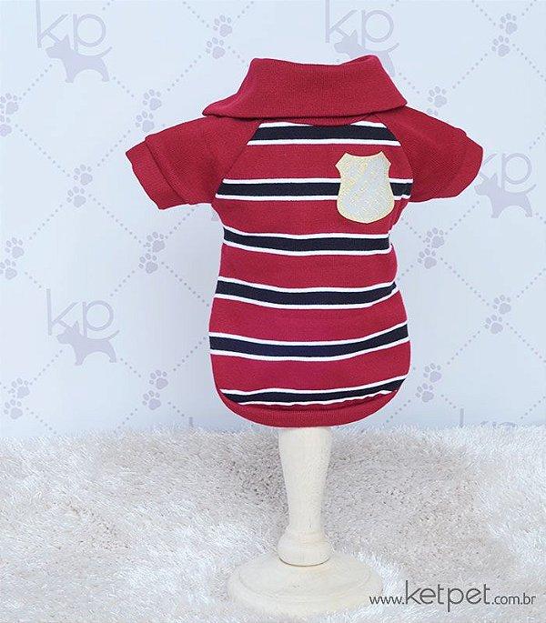 Camisa Polo Listrada Vermelha - ÚLTIMAS UNIDADES