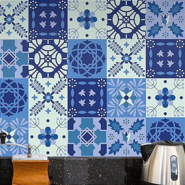 Adesivos Azulejo Azul e Branco