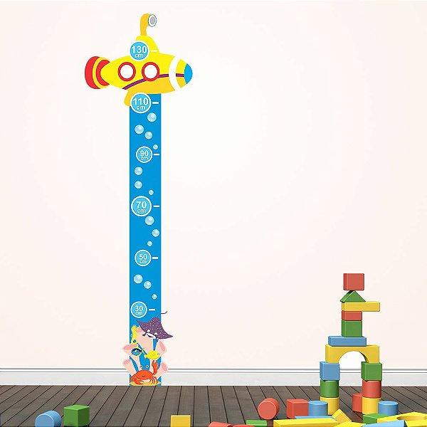 Adesivo Régua Medidora Infantil Fundo do Mar
