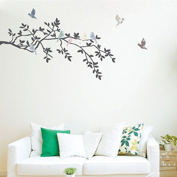 Adesivo de Parede Pássaros Florais com Ramo