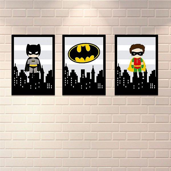 Conjunto de 3 Placas Decorativas Batman e Robin 25x35cm cada