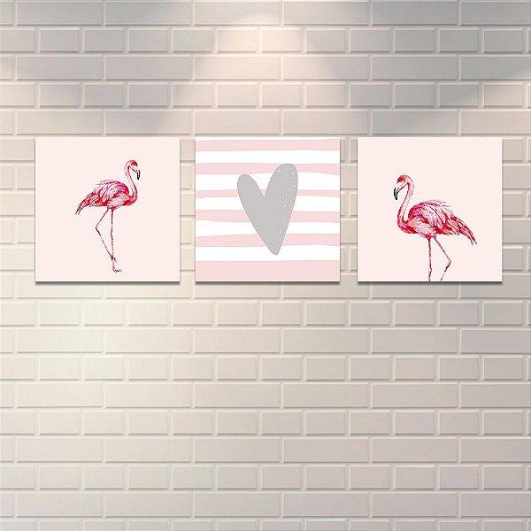 Conjunto de 3 Placas Decorativas Flamingos Mod2 40x40cm cada