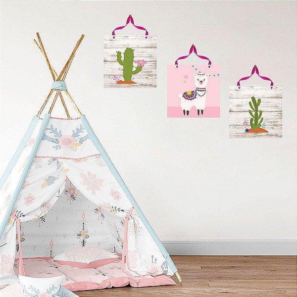 Trio Plaquinhas Decorativas Infantil Lhama 25x25cm cada