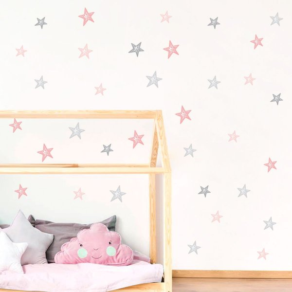 Adesivo Estrelas Rosa e Cinza