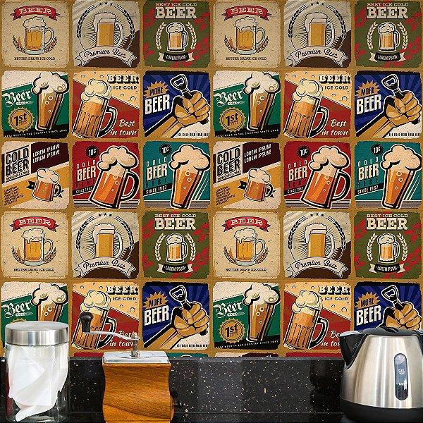 Adesivo de Azulejo Retrô Beer 27 peças