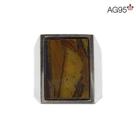 Anel Retangular Pedra Olho de Tigre 13x15