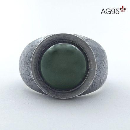 Anel Crisoprásio pedra redonda 13mm