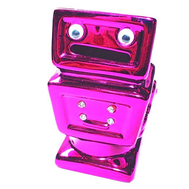 Cofre Robôzinho Rosa e Dourado Metálico Com Strass
