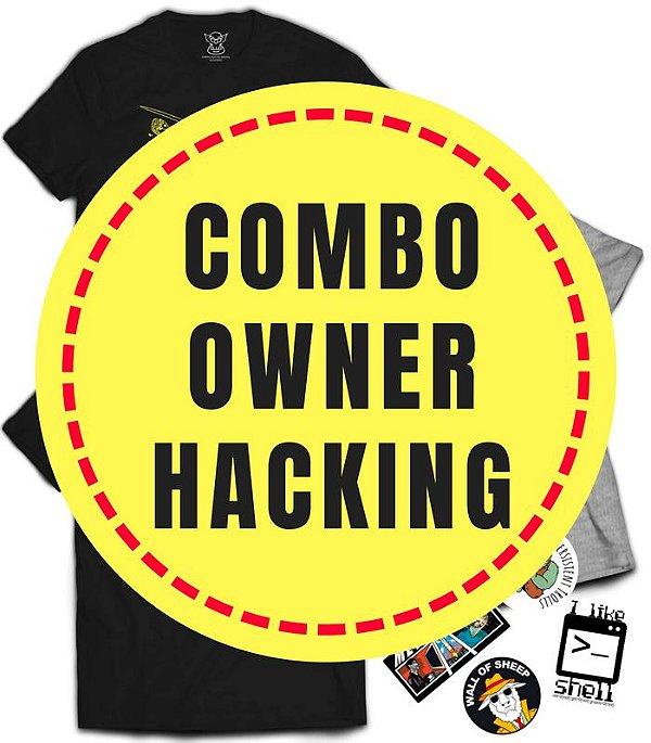 Combo Especial Owner Hacking - 3 Camisetas mais 4 Stickers de Brinde