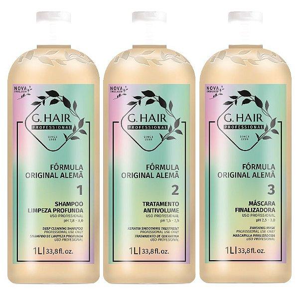 G.HAIR KIT Shampoo + Tratamento Antivolume e Máscara Finalizadora 1Lt cada