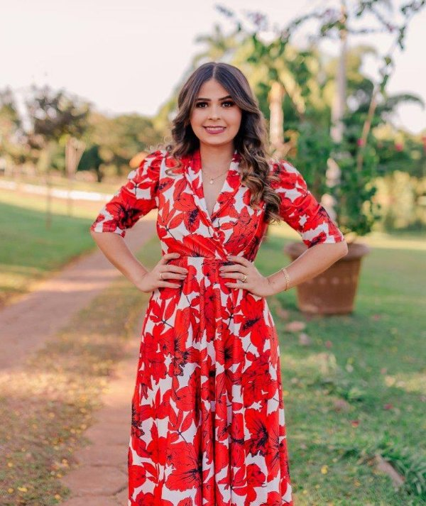 Vestido Midi Godê Flores Vermelhas em Suplex Soft