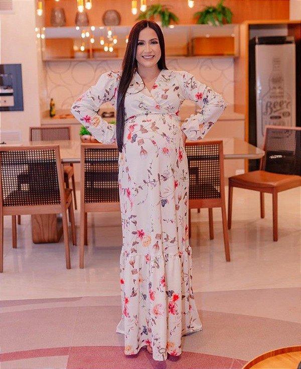 Vestido Gestante Longo Transpassado Branco Floral em Suplex Soft