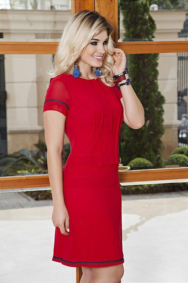 Vestido Kauly Vermelho com Camadas Moda Evangélica