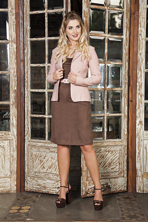 Vestido Kauly Plus Size com Cinto Moda Evangélica