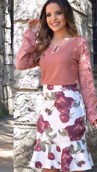 Saia Midi Nafee Estampa Floral Moda Evangélica