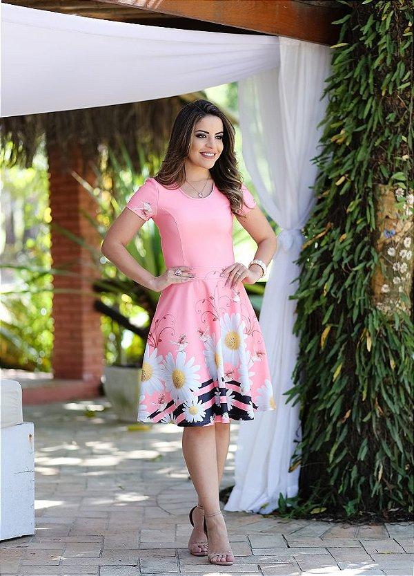 Vestido Midi Tipo Godê Boutique K Rosa Moda Evangélica