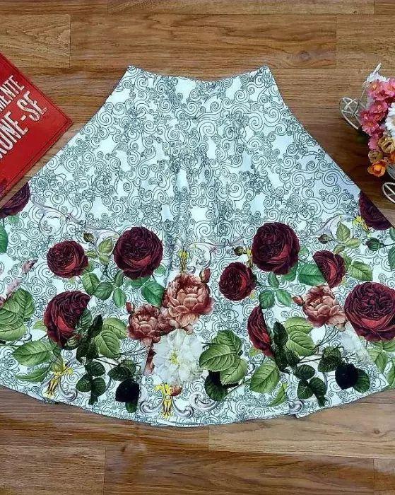 Saia Midi Marcela Verde Floral Moda Evangélica