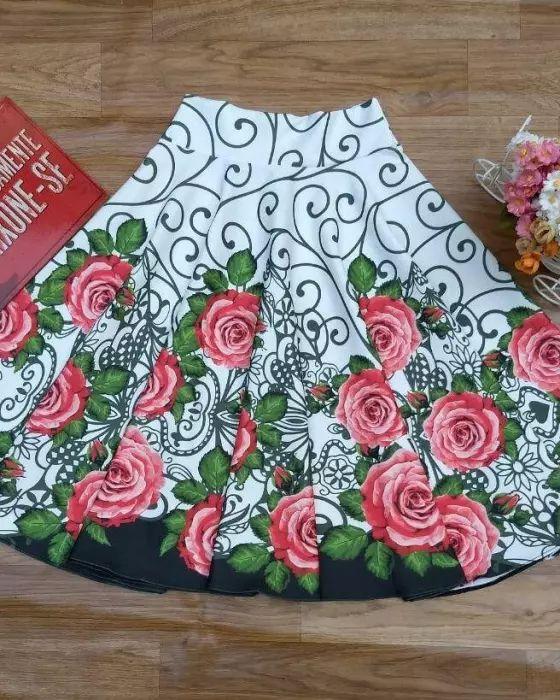 Saia Midi Godê Melissa Floral Moda Evangélica