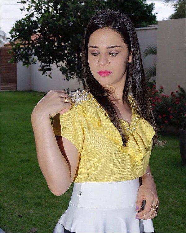 Blusa amarela com Pedraria Bordadas a Mão Moda Evangélica