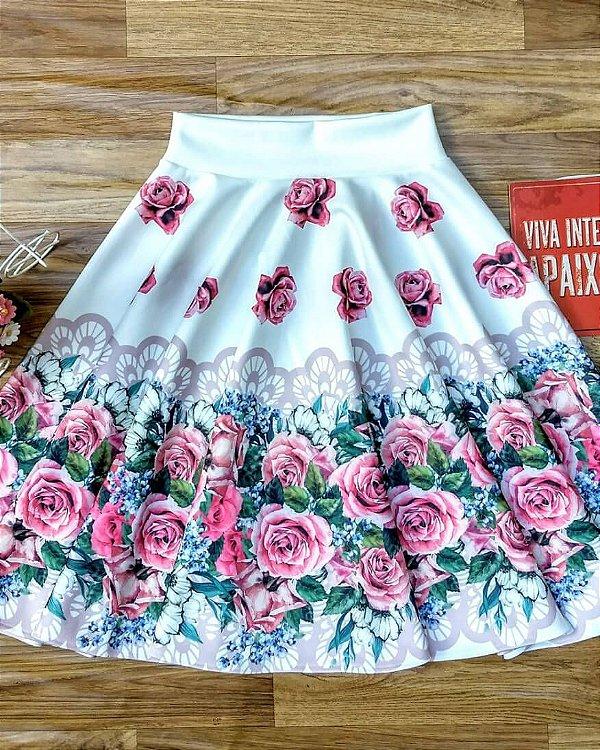 Saia Godê Estampada Branca com Rosas Moda Evangélica