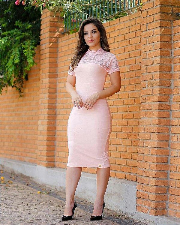 Vestido Tubinho Bianca Rosa detalhes em Renda Moda Evangélica