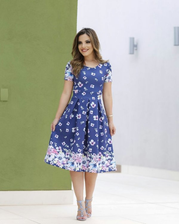 Vestido Midi Azul Floral Moda Evangélica