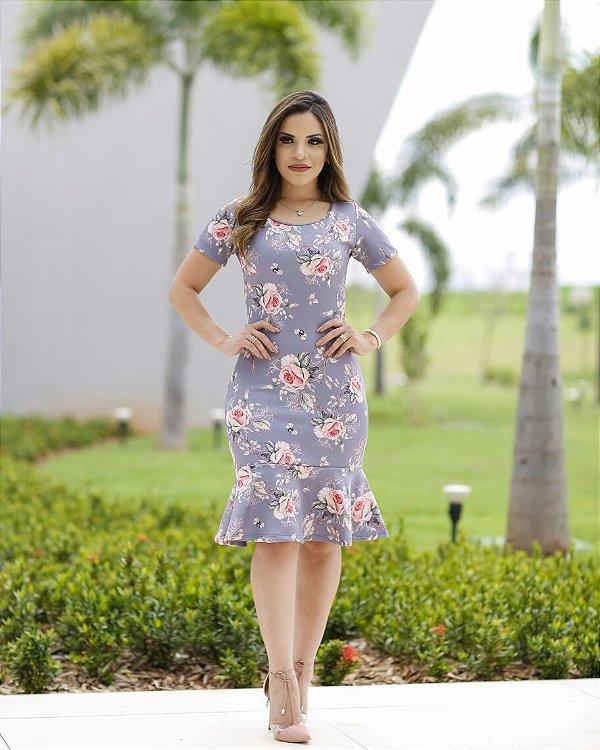 Vestido Tubinho Peplum Floral Moda Evangélica