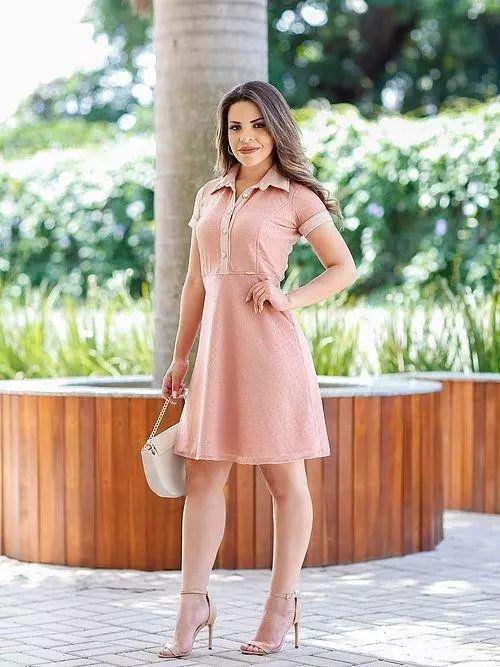 Vestido Lady em Tule Forrado Rosê Quartz Moda Evangélica