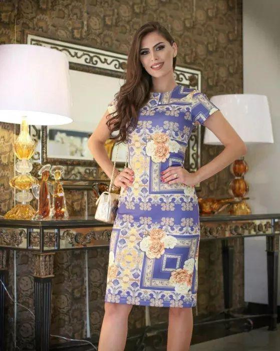 Vestido Tubinho Midi Floral Vintage Moda Evangélica
