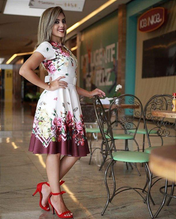 Vestido Midi Andreia Floral com Cinto Moda Evangélica