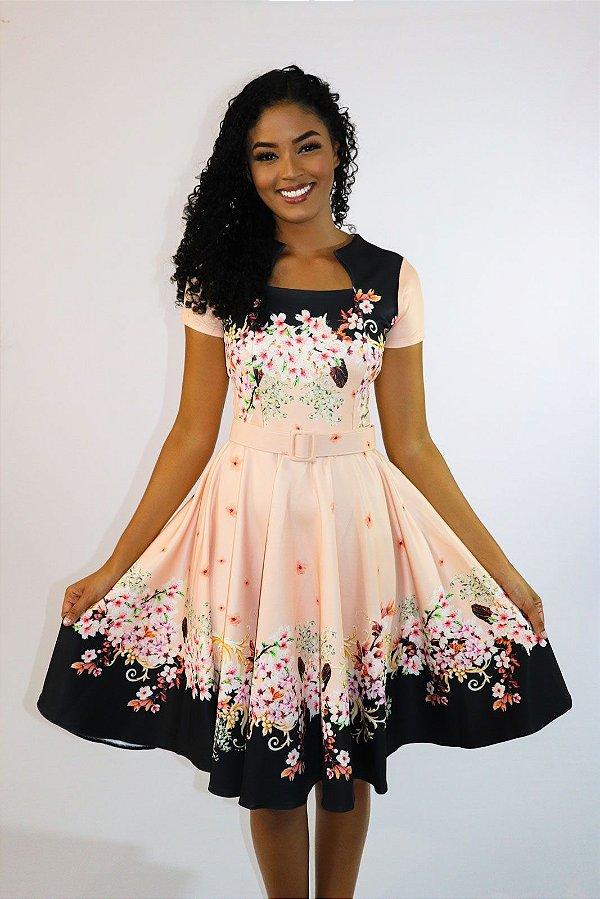 Vestido Midi Luna Floral com Cinto