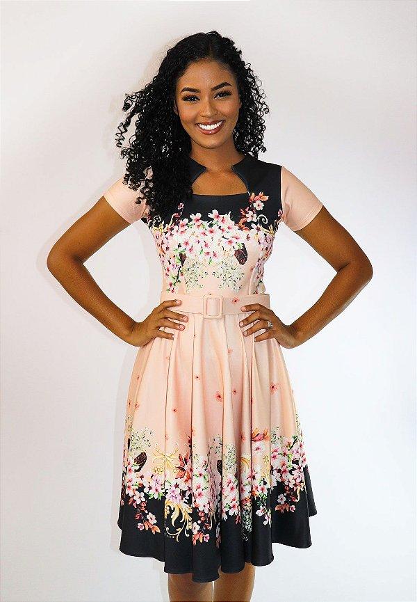 886716fb7 Vestido Midi Floral com Cinto - Moda Evangélica - Flor de Amêndoa