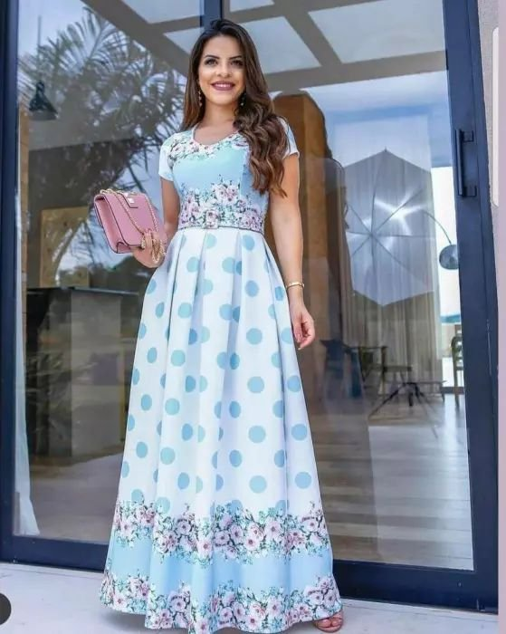 fc082df8 Vestido Longo com Cinto - Moda Evangélica - Flor de Amêndoa