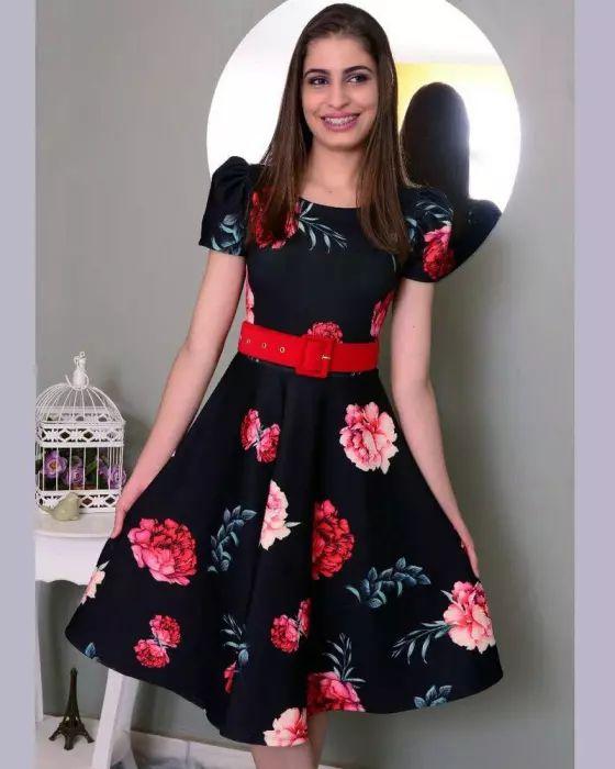 Vestido Midi Preto Estampa Rosas Moda Evangélica