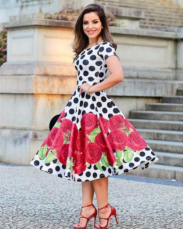 Vestido Midi Poá com Rosas na Saia Moda Evangélica
